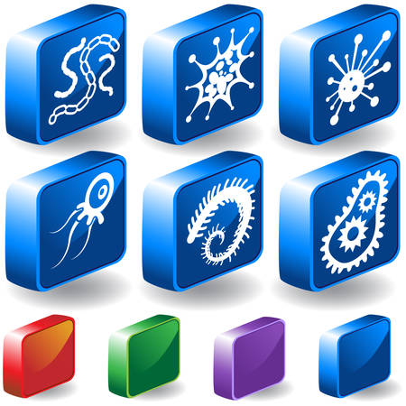 Virus 3D Icon Set : Group of microscopic virus creatures in a simplified style.