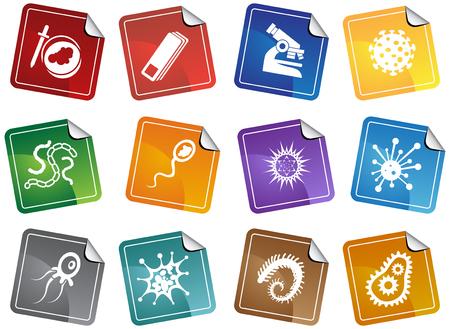 Virus Sticker instellen: Groep van microscopische virus wezens in een vereenvoudigde stijl. Stock Illustratie