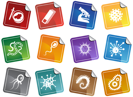 Virus Sticker Set : Group of microscopic virus creatures in a simplified style.