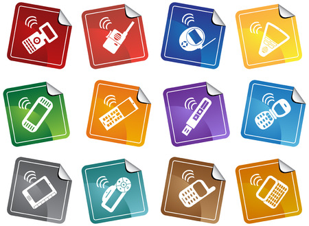 portable audio: Mobile Device Sticker Icon Set : Collection of portable wireless media device icons in a simplified style.