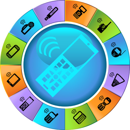 wireless: Mobile Device Wheel Icon Set : Collection of portable wireless media device icons in a simplified style.