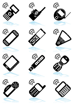 mobile device: Mobile Device Black Icon Set : Collection of portable wireless media device icons in a simplified style.