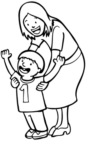 baby and mother: Mother Teaching Child Line Art : Mom helps her son learn to walk on his own for the first time.