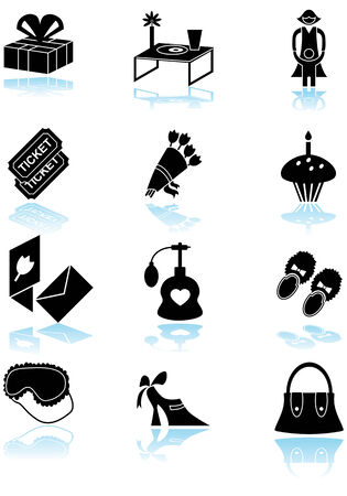 simplistic: Mothers Day Black Icon Set : Collection of mother�s day themed icons in a simplistic style