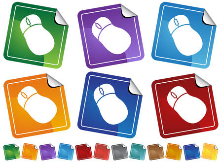 Mouse Sticker Icons : Group of computer mouse sticker icons in many colors with peeled edges.