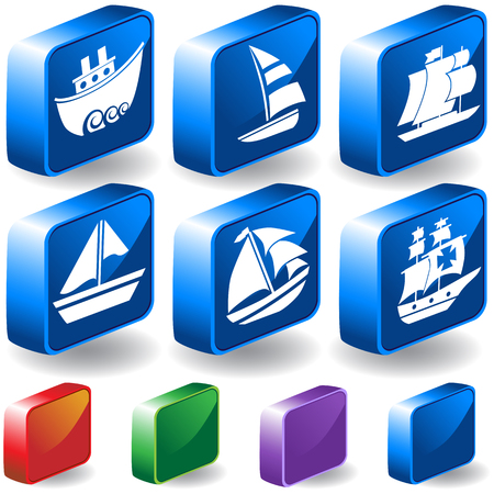 nautical vessel: Nautical Vessel 3D Anchor Icon Set : Boat themed set of icon objects made in a simplistic style.