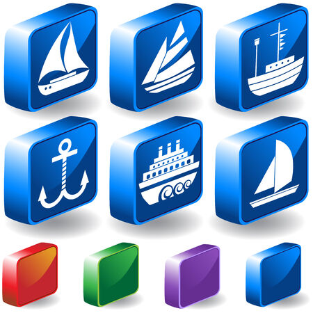 nautical vessel: Nautical Vessel 3D Sailboat Icon Set : Boat themed set of icon objects made in a simplistic style.