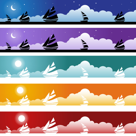 nautical vessel: Nautical Vessel Banner Icon Set : Boat themed set of banner objects made in a simplistic style. Illustration