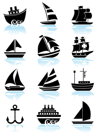 themed: Nautical Vessel Black Icon Set : Boat themed set of icon objects made in a simplistic style.