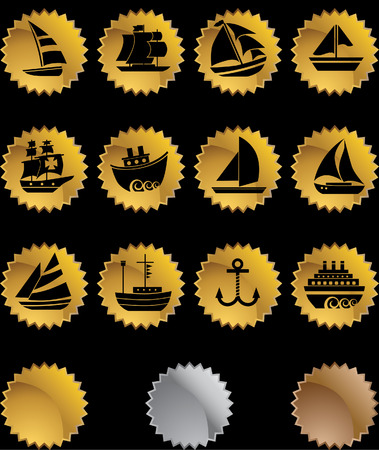 nautical vessel: Nautical Vessel Gold Star Icon Set : Boat themed set of icon objects made in a simplistic style.