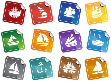 Nautical Vessel Sticker Icon Set : Boat themed set of icon objects made in a simplistic style.