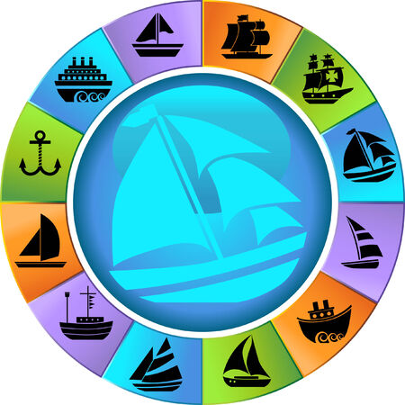nautical vessel: Nautical Vessel Wheel Icon Set : Boat themed set of icon objects made in a simplistic style.