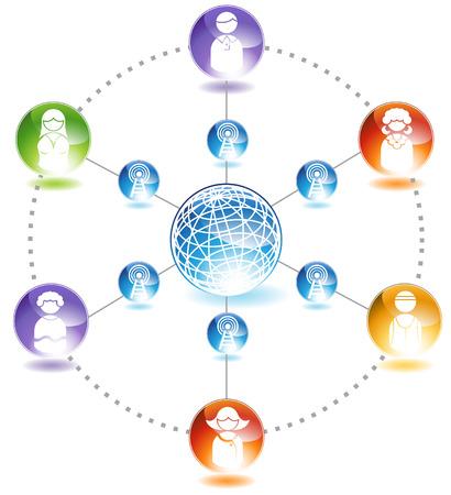 gente comunicandose: Diagrama de Red Social: El gr�fico que representa una red de personas comunicarse entre s�.
