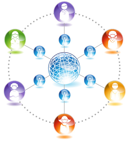 representing: Social Network Diagram : Chart representing a network of people communicating with each other.