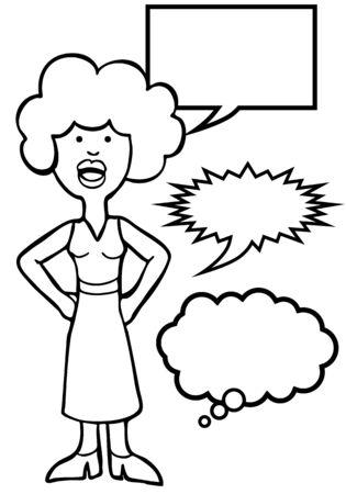 Outspoken Blue Hair Woman Line Art : Woman speaking her mind includes various speech balloon styles.