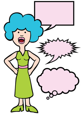 Outspoken Blue Hair Woman : Woman speaking her mind includes various speech balloon styles.
