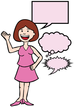 informed: Outspoken Pink Woman : Woman speaking her mind includes various speech balloon styles.