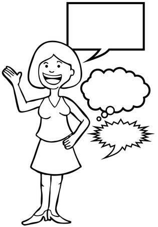 Uitgesproken Pink Woman Line art: Vrouw spreekt haar geest omvat verschillende toespraak ballon stijlen. Stock Illustratie