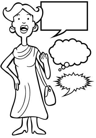 Outspoken Purse Woman Line Art : Woman speaking her mind includes various speech balloon styles. Ilustrace