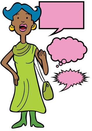 Outspoken Purse Woman : Woman speaking her mind includes various speech balloon styles.