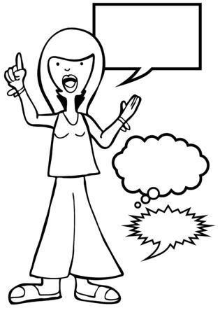 informed: Outspoken Sandals Woman Line Art : Woman speaking her mind includes various speech balloon styles.