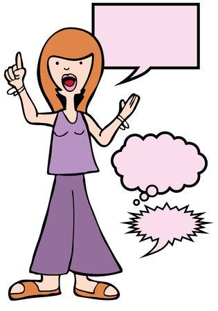 outspoken: Outspoken Sandals Woman : Woman speaking her mind includes various speech balloon styles. Illustration