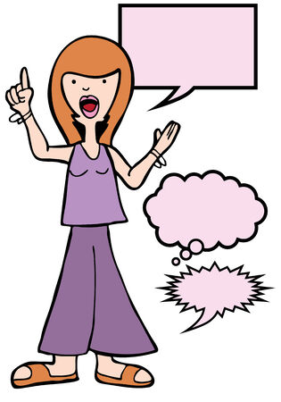Outspoken Sandals Woman : Woman speaking her mind includes various speech balloon styles. Çizim
