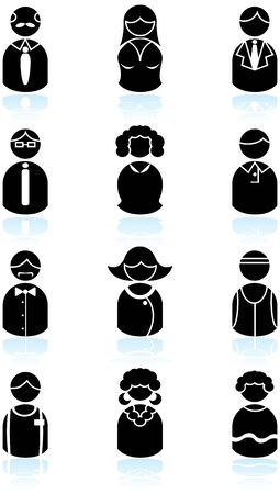 Business People Black Icon Set : Group of diverse types of people in a minimal style. Vector