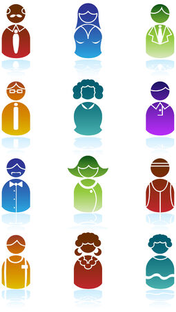 people icon: Business People Icon Set : Group of diverse types of people in a minimal style.
