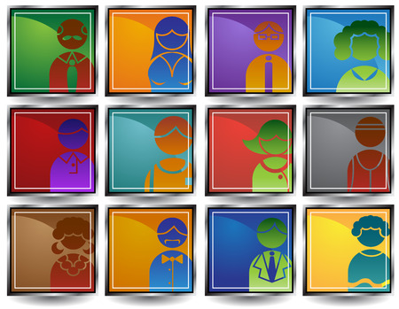 chrome man: Business People Squares : Group of diverse types of people in a minimal style.