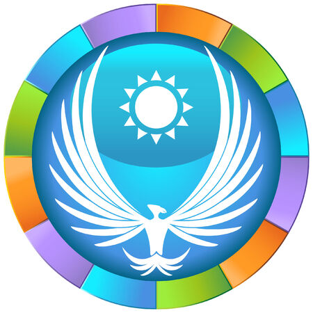 Phoenix Icon: Bird with giant wings and sun within a colorful circle. Illustration
