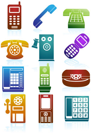 Phone Icons Color : Set of phones in a variety of styles. Vector