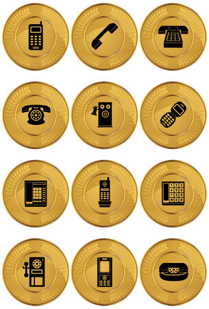 payphone: Phone Icon Set Coin : Set of telephone themed gold coin icons. Illustration