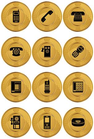 Teléfono de monedas Icon Set: Conjunto de teléfono temáticos moneda de oro de los iconos. Foto de archivo - 5163314
