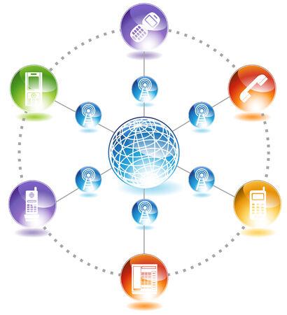 전화 네트워크 : 반짝이 광택 웹 단추 스타일에서 전화 네트워크 다이어그램.