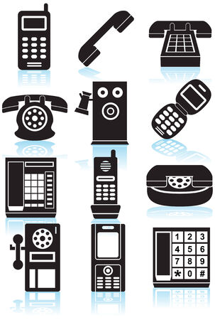 payphone: Phone Icons Black : Set of black phone icons in a variety of styles.