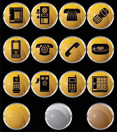 payphone: Phone Icons Round : Set of round gold phone buttons with chrome frames.