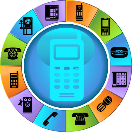 Phone Icons Wheel : Set of phone buttons on a colorful wheel.