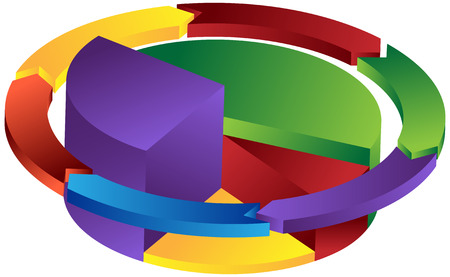 Pie Arrow Icon : Business pie chart object in a variety of colors. Vettoriali
