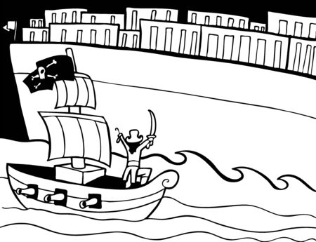 Pirate Attacking Cargo Ship Line Art : Small boat trying to capture a giant cargo ship. Vector