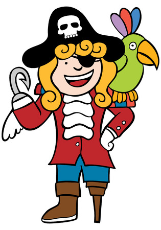 Child Pirate Parrot : Boy dressed as a pirate with his bird. Vector