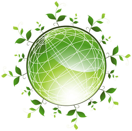 Plant Globe : Green sphere representing a healthy planet. Stock Vector - 5163309
