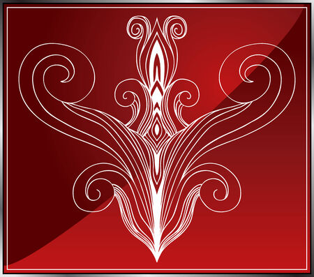 organic fluid: Abstract Tattoo Art : Organic design element on a red background