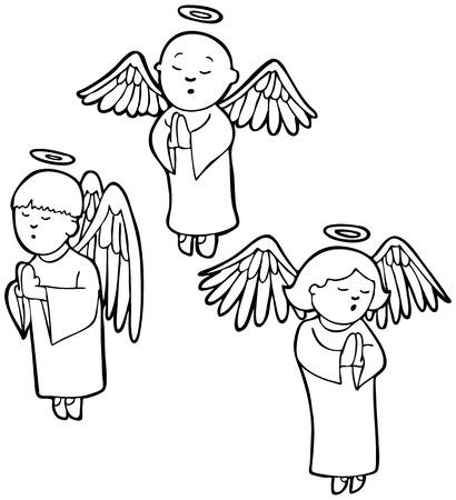 Bidden Angels Line Art: Drie engelen bidden in een cartoon stijl.