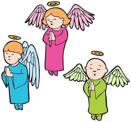 graphic illustration: Praying Angels : Three angels praying in a cartoon style. Illustration