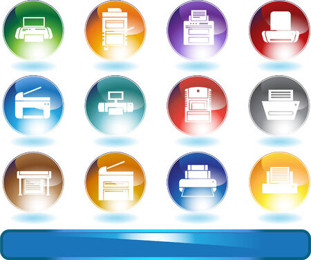 themed: Printer Icons Round : Set of round shiny printer themed icon buttons. Illustration