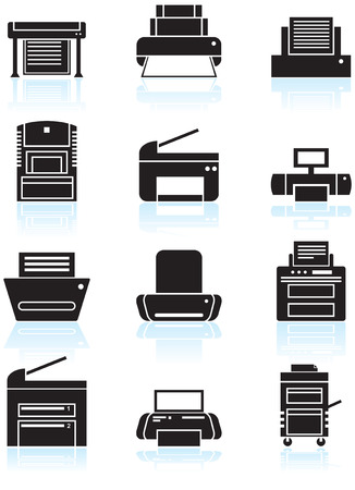 Printer Icons Line Art : Set of black and white themed computer printer icon buttons.