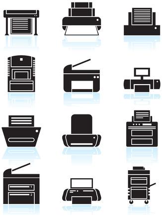 Printer pictogrammen line kunst: Set van zwart-wit thema computer printer pictogram knoppen. Stock Illustratie