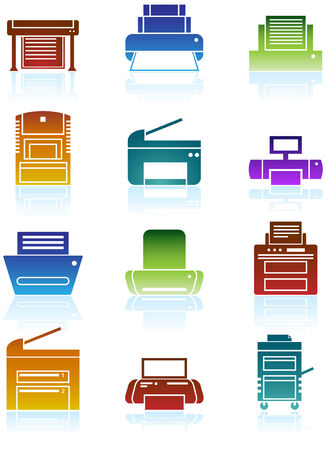 printers: Printer Icons Color: Set of bright colorful themed computer printer icon buttons.