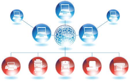 ネットワーク プリンター: コンピューター プリンター ネットワーク ダイアグラム赤と青の色で。